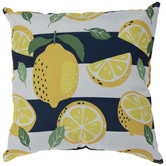 White & Navy Striped Lemons Pillow