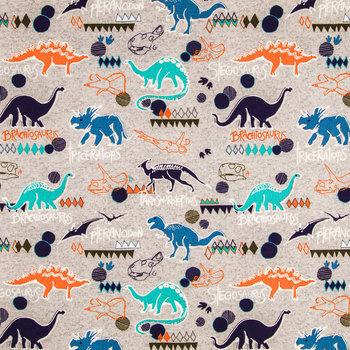 Dino Cotton Calico Fabric