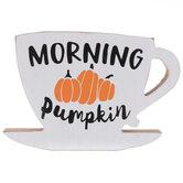Morning Pumpkin Coffee Cup Wood Decor
