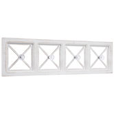 White Criss-Cross Wood Wall Decor With Hooks