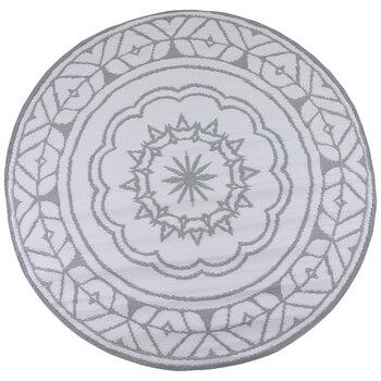 White & Gray Mandala Synthetic Rug