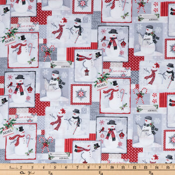 Snowman Post Cards Cotton Fabric