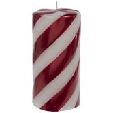 "Beaded Peppermint Pillar Candle - 3"" x 6"""