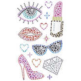 Lipstick & Stiletto Heel Rhinestone Stickers