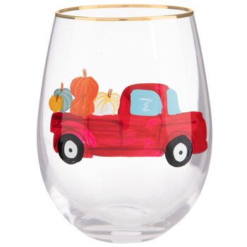 Red Truck With Pumpkins Stemless Glass