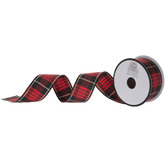 Red, Black & Gold Plaid Ribbon - 1 1/2""