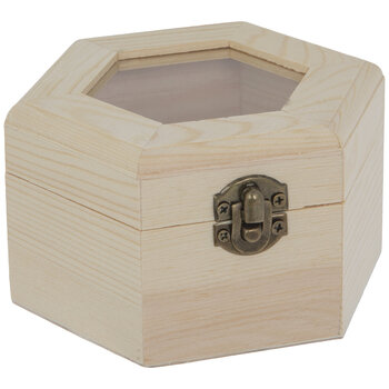 Hexagon Wood Box With Glass Top