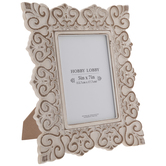 White & Brown Scroll Wood Frame