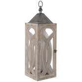 Brown & Gray Distressed Wood Lantern Candle Holder