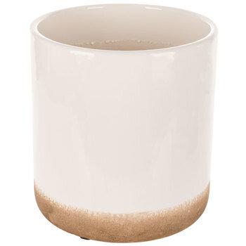 White Cylindrical Flower Pot