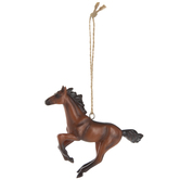 Brown Running Horse Ornament