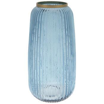 Blue & Gold Ribbed Round Glass Vase