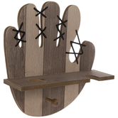 Baseball Mitt Wood Wall Shelf With Hook