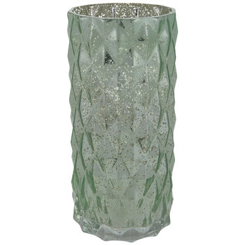 Green Diamond Mercury Glass Vase