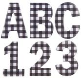 Black & White Buffalo Check Chipboard Alphabet Stickers