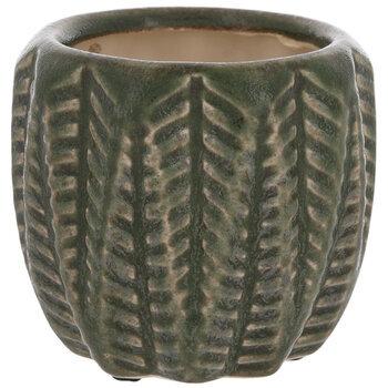 Green Textured Leaf Flower Pot - Small