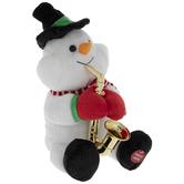 Singing Saxophone Snowman Plush