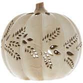 Cream Pumpkin Candle Holder With Wheat Cut-Outs