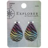 Multi-Color Zebra Print Teardrop Charms