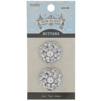 Silver Swirl Rhinestone Buttons - 24mm