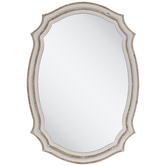 Beige & White Scalloped Wood Mirror
