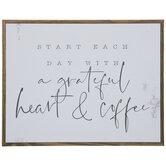 Grateful Heart & Coffee Wood Wall Decor