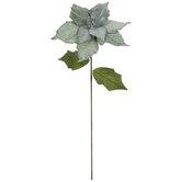 Moss Green Velvet Poinsettia Stem