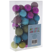 Pink, Green & Blue Matte, Shine & Glitter Mini Ornaments