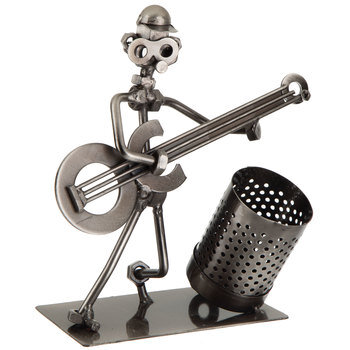 Nuts & Bolts Guitar Player Metal Pencil Holder