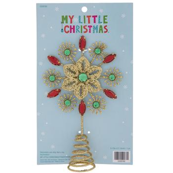 Mini Gold Rhinestone Snowflake Tree Topper
