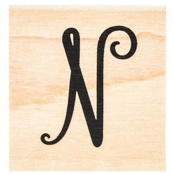 Script Letter Rubber Stamp - N