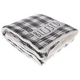 White & Black Plaid Sherpa Throw Blanket