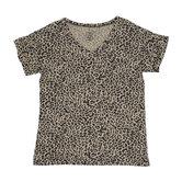 Leopard Print Drapey V-Neck Adult T-Shirt
