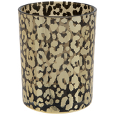 Metallic Gold Leopard Print Glass Vase - Large
