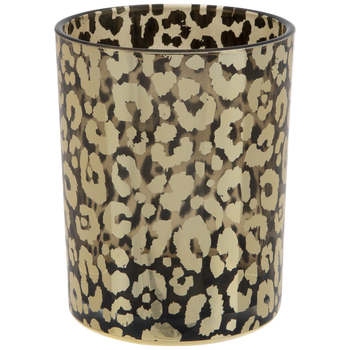 Metallic Gold Leopard Print Glass Vase