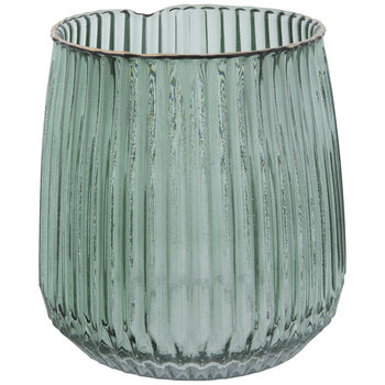 Green Round Ribbed Glass Vase