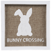 Sitting Bunny Crossing Wood Decor
