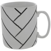 White & Black Herringbone Subway Tile Jumbo Mug
