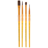 Camel Hair Variety Paint Brushes - 4 Piece Set