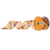 Fall Leaves Wired Edge Ribbon - 2 1/2""