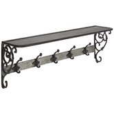 Galvanized Scroll Metal Wall Shelf