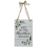 Adventure Begins Floral Wood Wall Decor