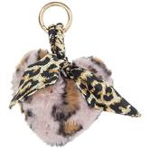 Leopard Print Plush Heart Keychain