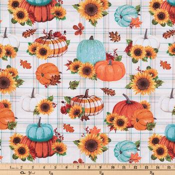 Pumpkins & Sunflowers Plaid Cotton Fabric