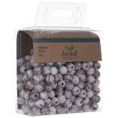 White & Brown Marble Round Beads