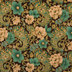 Green & Brown Floral Paisley Cotton Calico Fabric