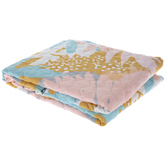 Pink, Blue & Gold Leaf Quilted Throw Blanket