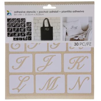 Script Uppercase Alphabet Adhesive Stencils