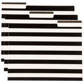 Black & White Striped File Folders With Labels