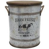 Farm Fresh Milk Galvanized Metal Bucket